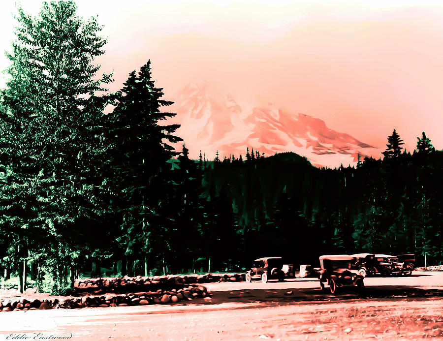 Mount Rainier With Vintage Cars Early 1900 Era... Photograph