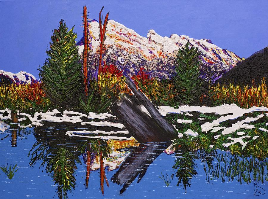 Mount Rundle In Banff Alberta Mountain Painting  - Mount Rundle In Banff Alberta Mountain Fine Art Print