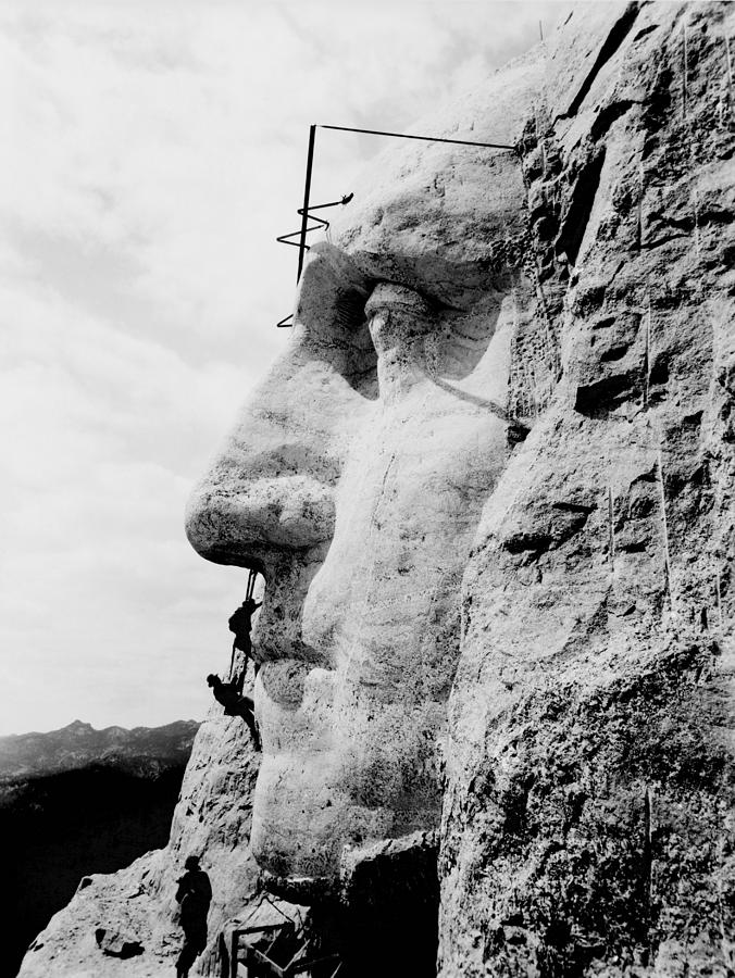 Mount Rushmore Photograph - Mount Rushmore Construction Photo by War Is Hell Store