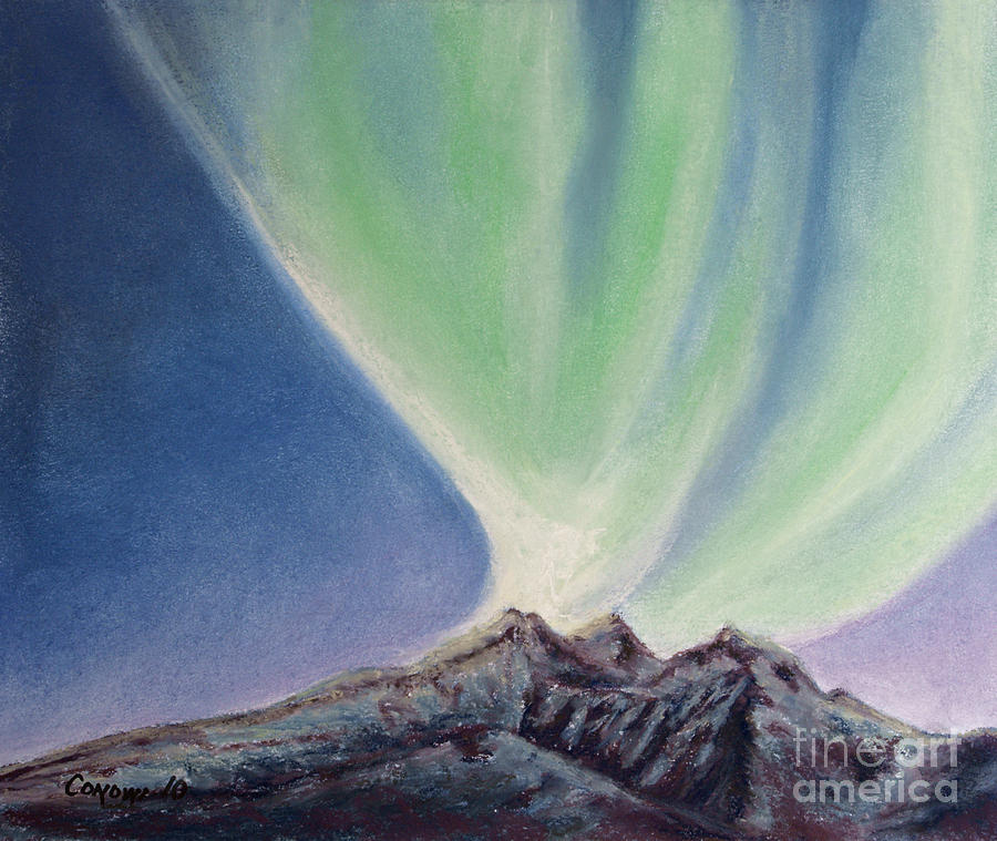 Mountain Aurora Painting  - Mountain Aurora Fine Art Print