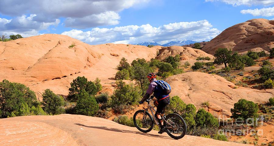 Moab Photograph - Mountain Biking Moab Slickrock Trail - Utah by Gary Whitton