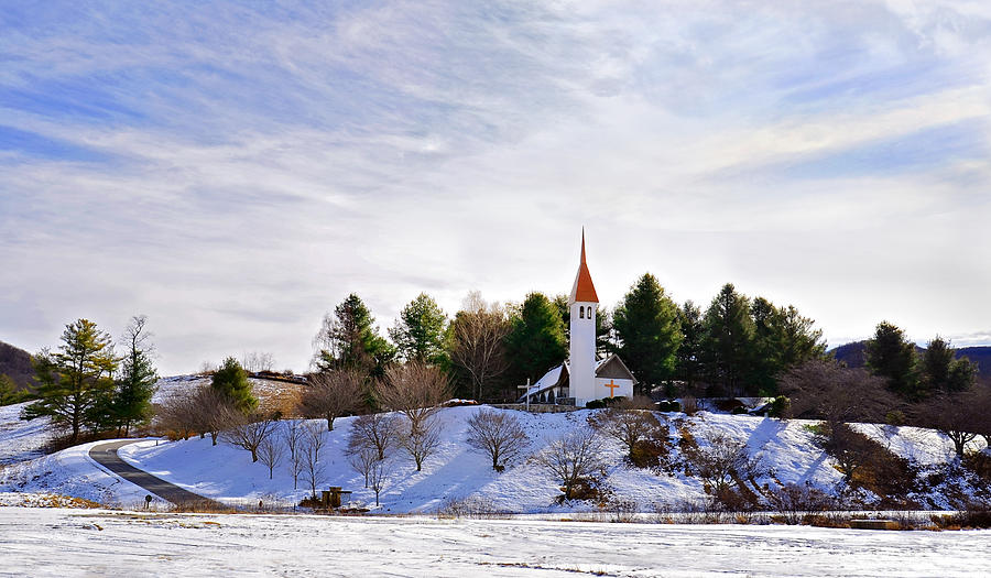 Mountain Church In Winter Photograph