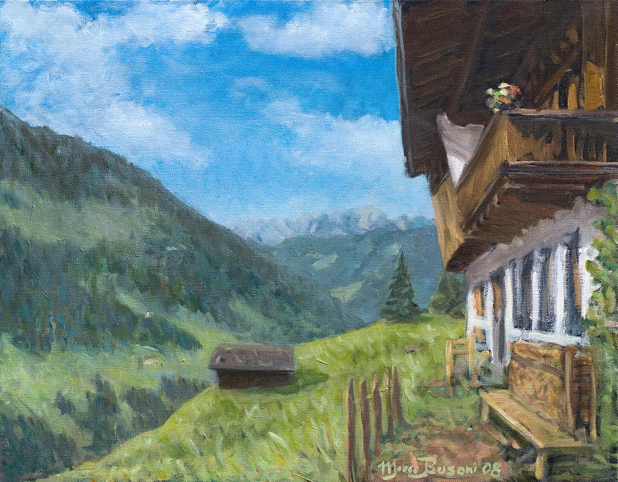 Mountain Farm In Austria Painting