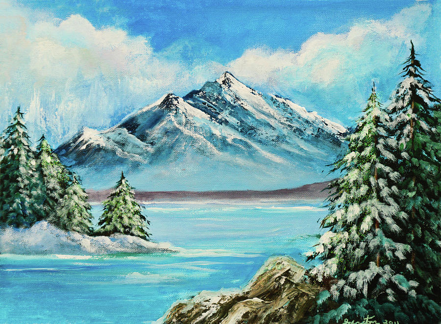 Mountain Lake In Winter Painting  - Mountain Lake In Winter Fine Art Print