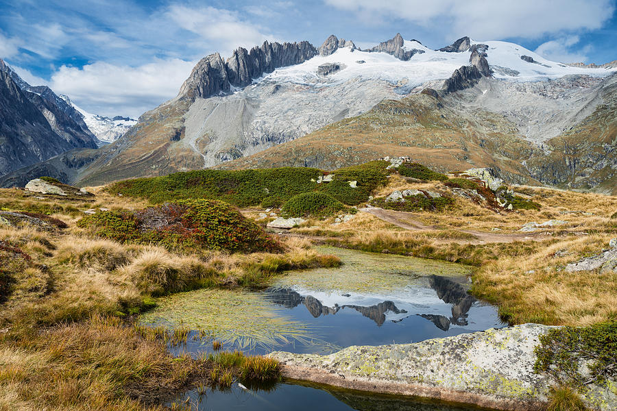 Swiss Alps Photograph - Mountain Landscape Water Reflection Swiss Alps by Matthias Hauser