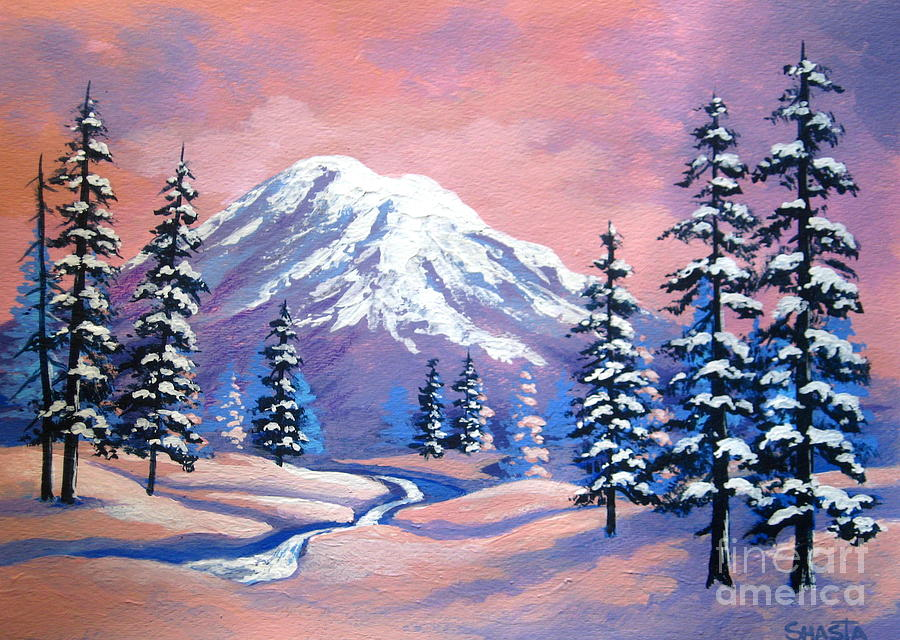 Serenity Scenes Landscapes Painting - Mountain  Magic  by Shasta Eone
