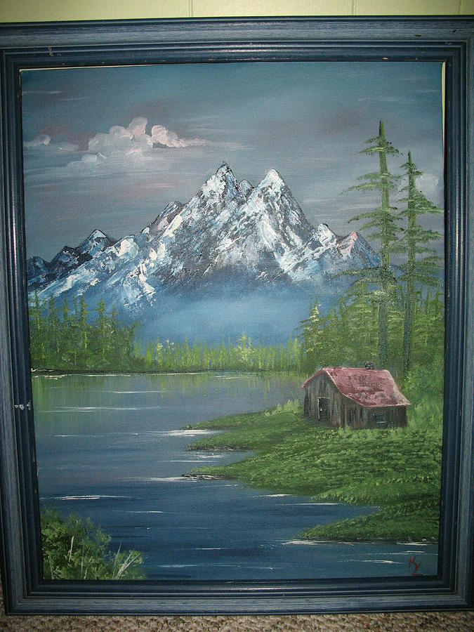 Landscape Mountain Cabin Painting - Mountain Majesty by Kathy Livermore