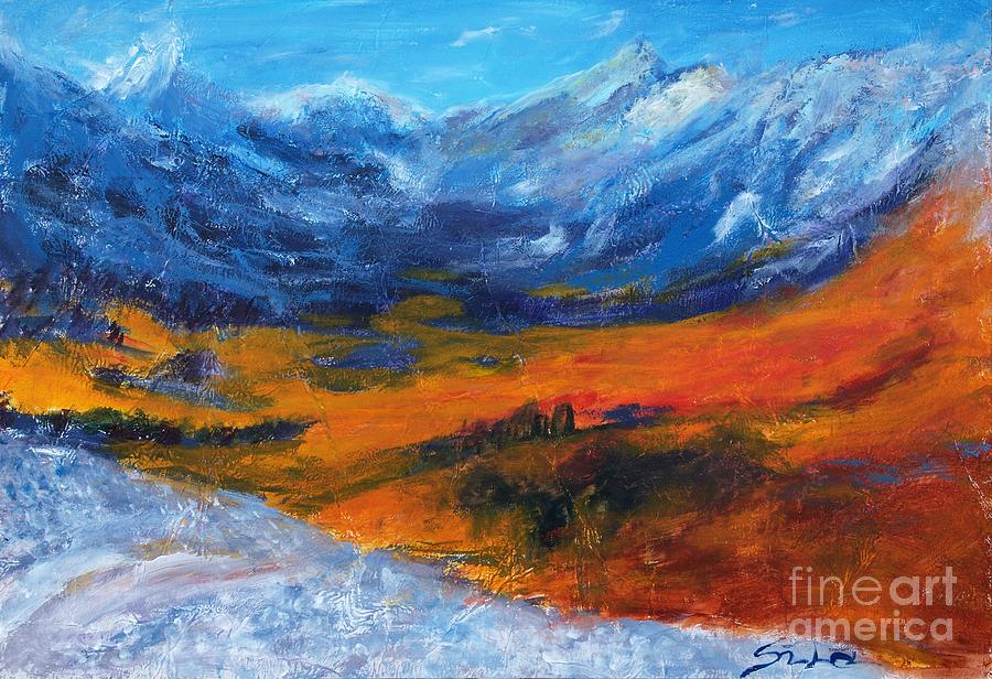 Mountain Meadow Scene Velebit Painting  - Mountain Meadow Scene Velebit Fine Art Print