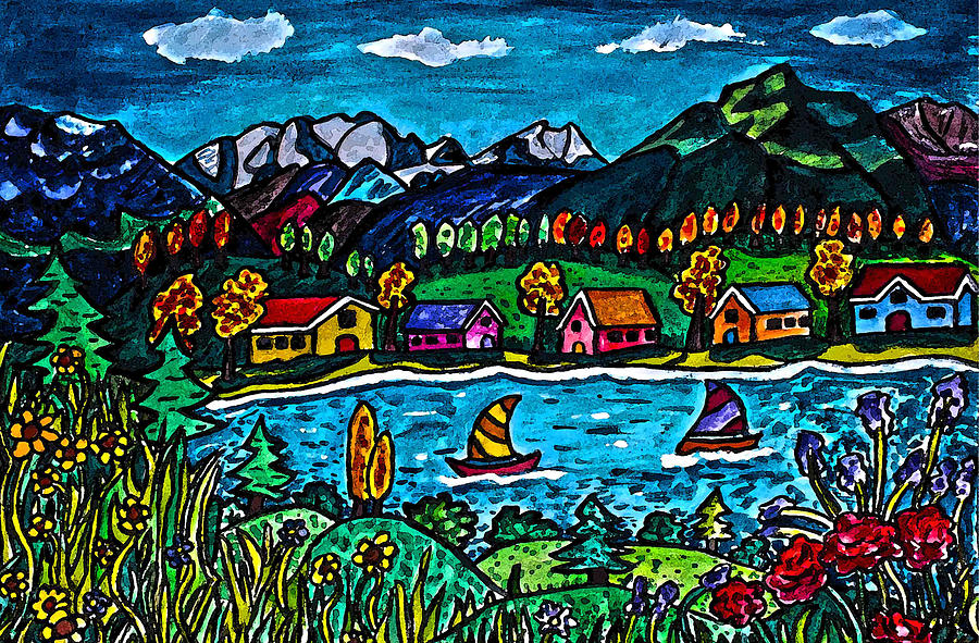 Mountain Sail Painting