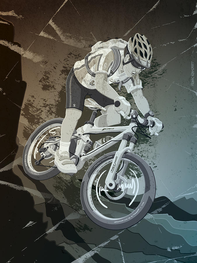 Mountainbike Sports Action Grunge Monochrome Drawing