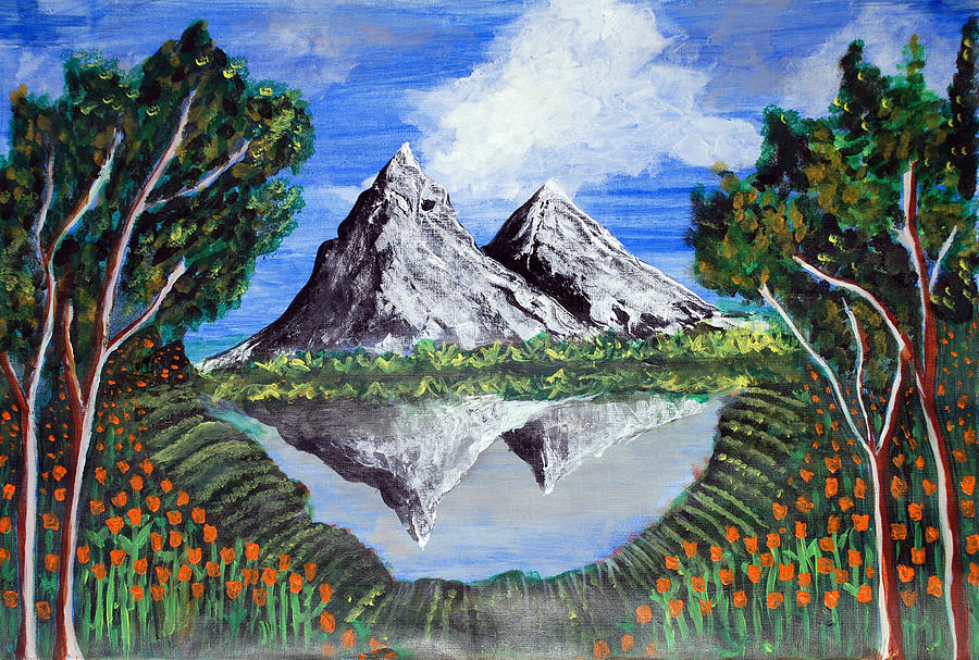 Mountains On A Lake Painting