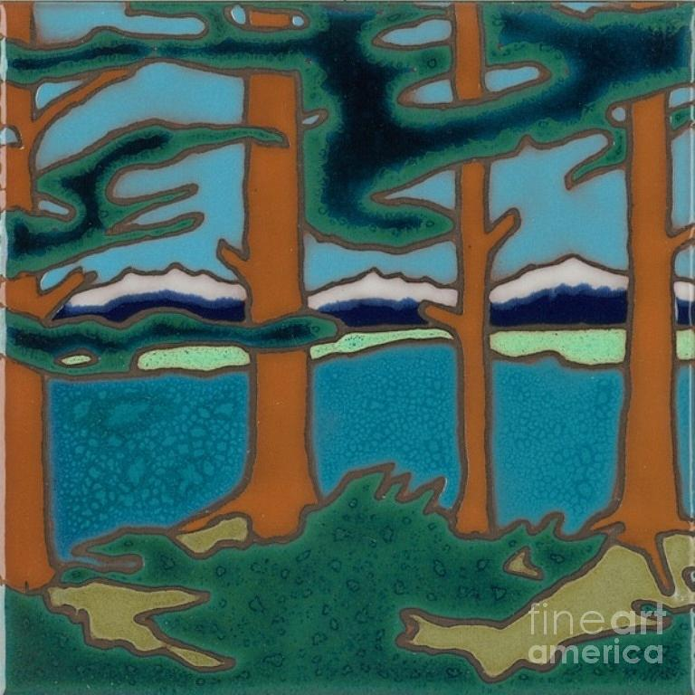 Moutain Lake Scene Ceramic Art