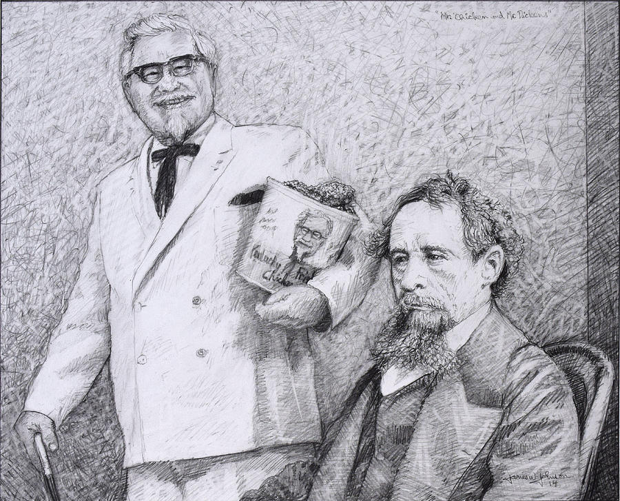 Charles Dickens Drawing - Mr Chicken And Mr Dickens by James W Johnson