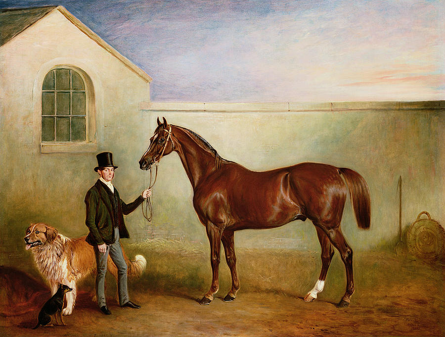 Horse; Pet; Groom Painting - Mr Meakin Holding Sir Robert Peels Chestnut Hunter With His Dogs Hector And Jem by John E Ferneley