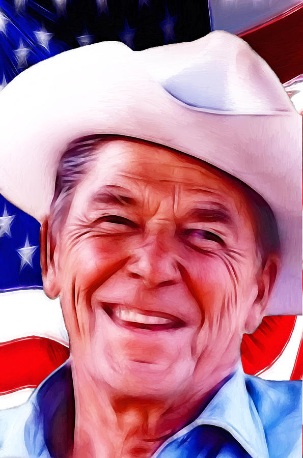 President Ronald Reagan Usa Us United State Governor Washington Flag American Actor 1911 1981 1989 California Legend Cowboy  Painting - Mr.president 2 by Steve K