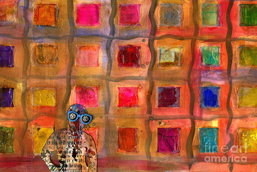 Ms Cool Goes Window Watching In Color Mixed Media