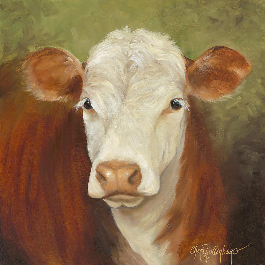 Ms sophie cow painting painting by cheri wollenberg for Cow painting print