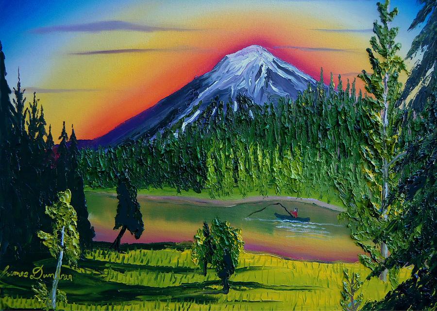 mt bachelor at dusk bend oregon painting by portland art