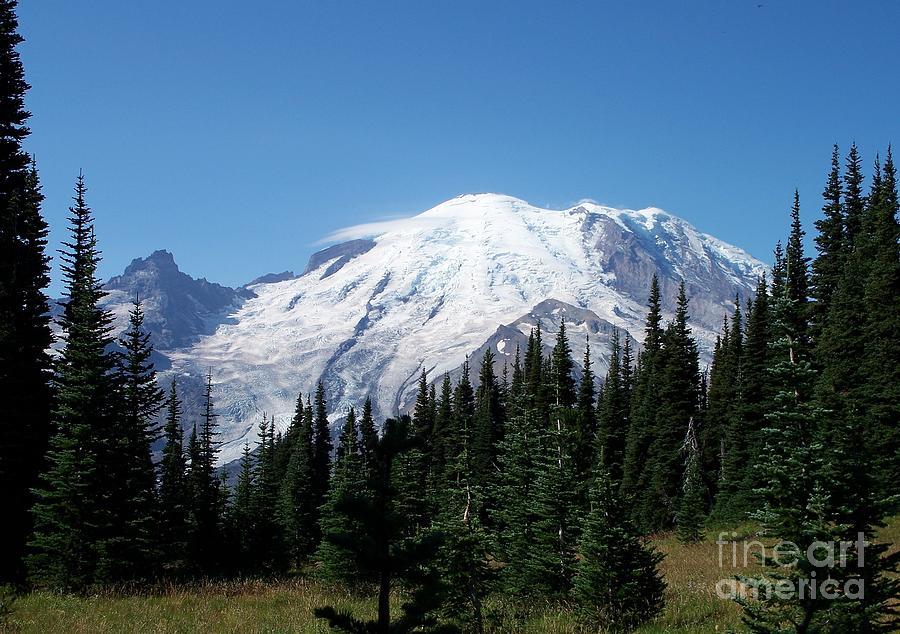 Mt. Rainier In August Photograph - Mt. Rainier In August by Chalet Roome-Rigdon