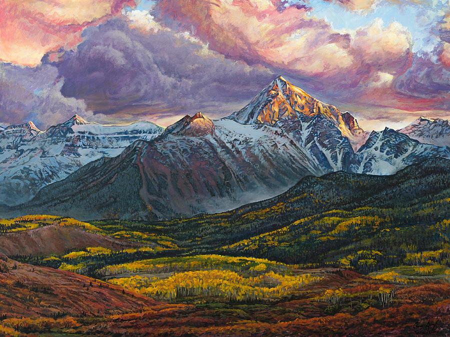 Sneffels Painting - Mt. Sneffels by Aaron Spong