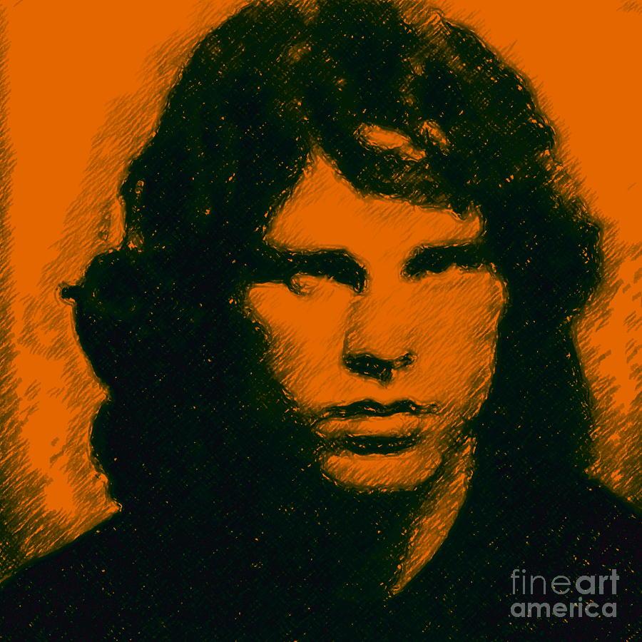 Mugshot Jim Morrison Square Photograph