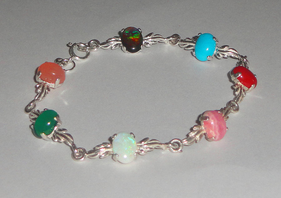 Multi Gemstone Cabochon Bracelet With Sterling Silver Leaf Links Jewelry