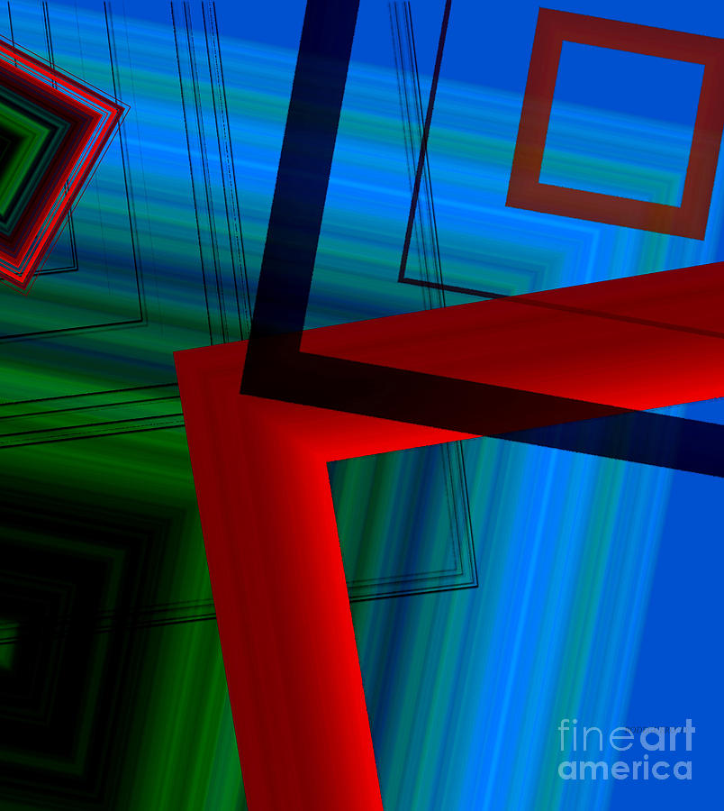 Multi Color Digital Art - Multicolor Geometric Shapes In Digital Art by Mario Perez