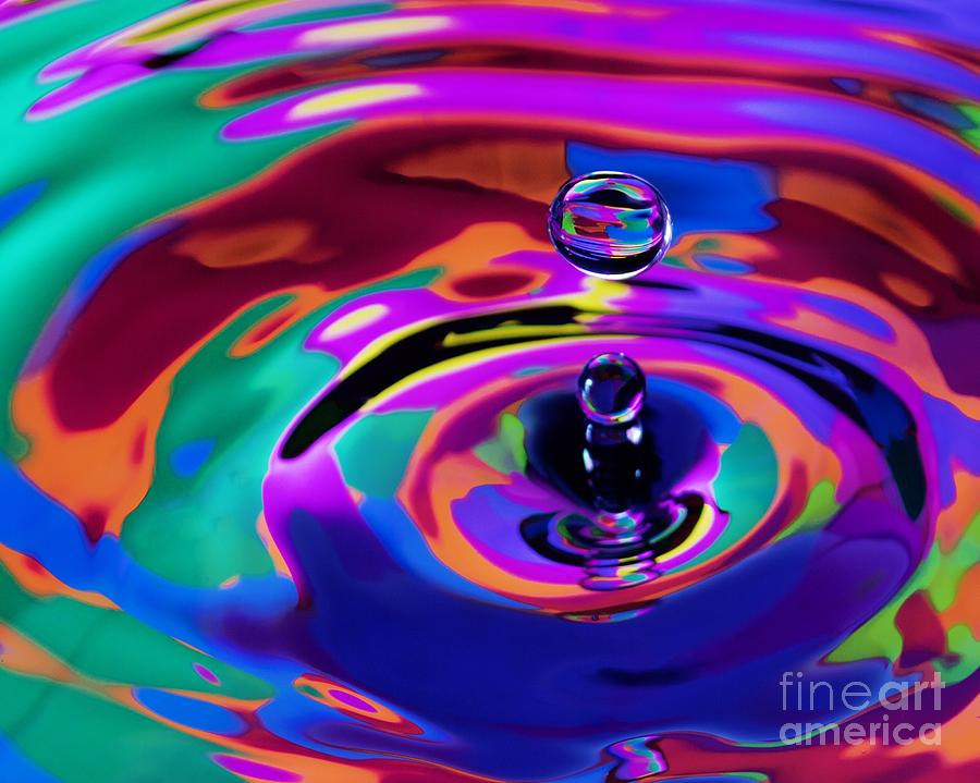 Multicolor Water Droplets 1 Pastel  - Multicolor Water Droplets 1 Fine Art Print