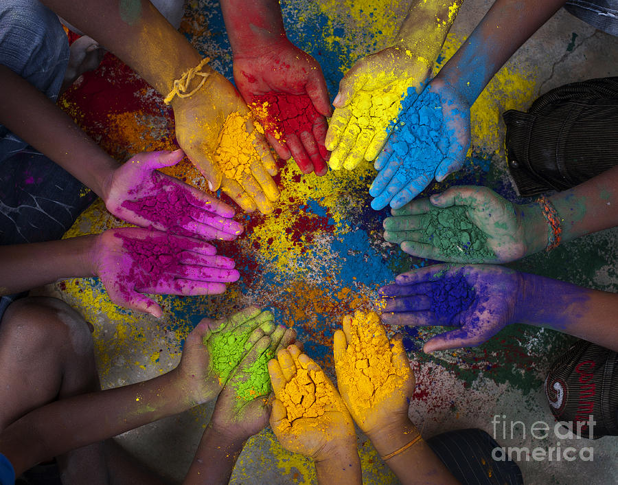 Multicoloured Hands Photograph  - Multicoloured Hands Fine Art Print