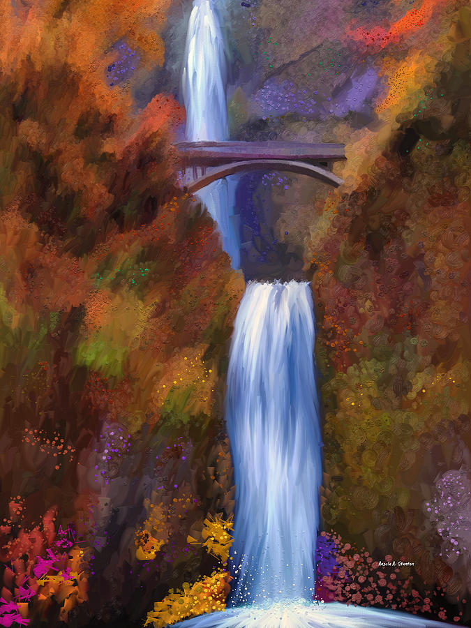 Multnomah Falls In Autumn Painting