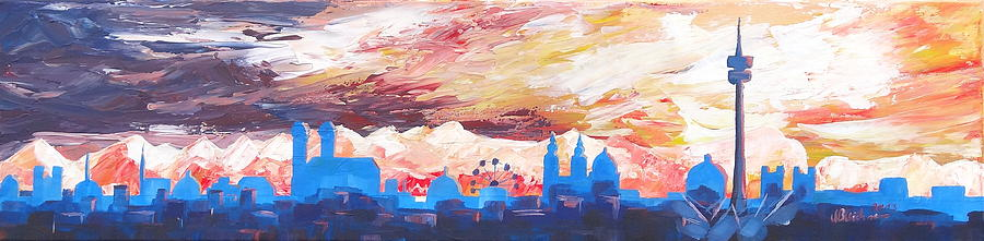 Munich Skyline At Dusk With Alps Painting  - Munich Skyline At Dusk With Alps Fine Art Print