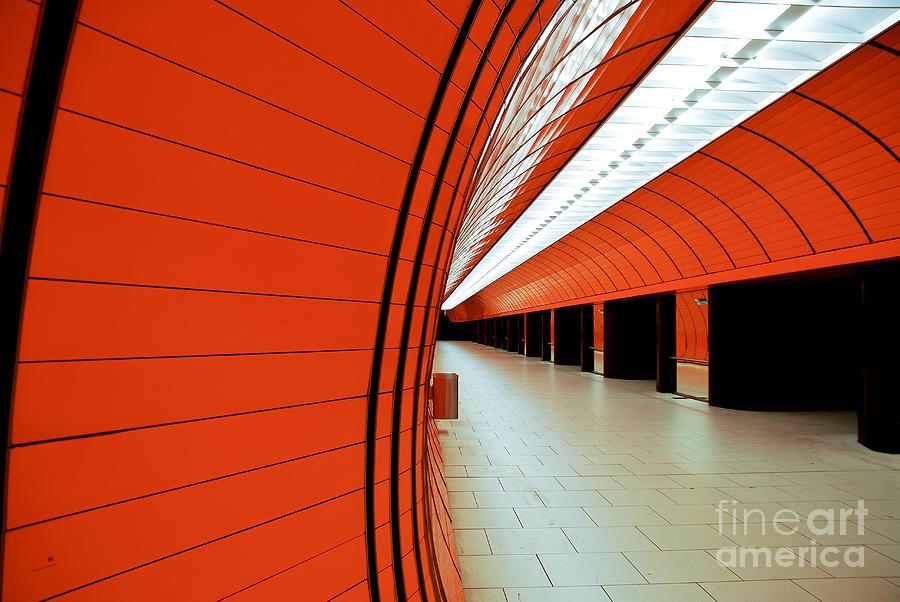 Orange Photograph - Munich Subway II by Hannes Cmarits