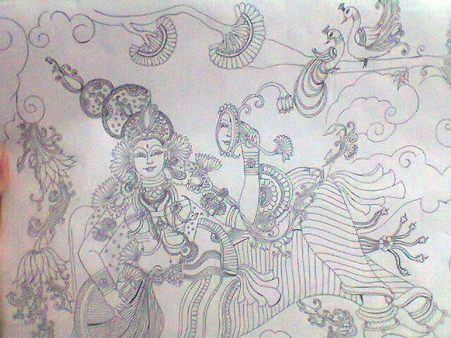 Line Art Mural : Mural line art by priyanka menon