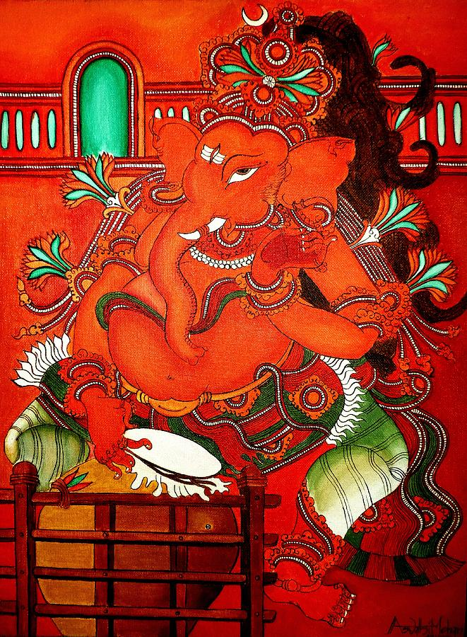 Mural painting ganesha painting by aswathi mohan for Mural art of ganesha