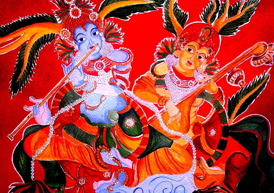 Mural radha and krishna painting by aswathi mohan for Mural radha krishna