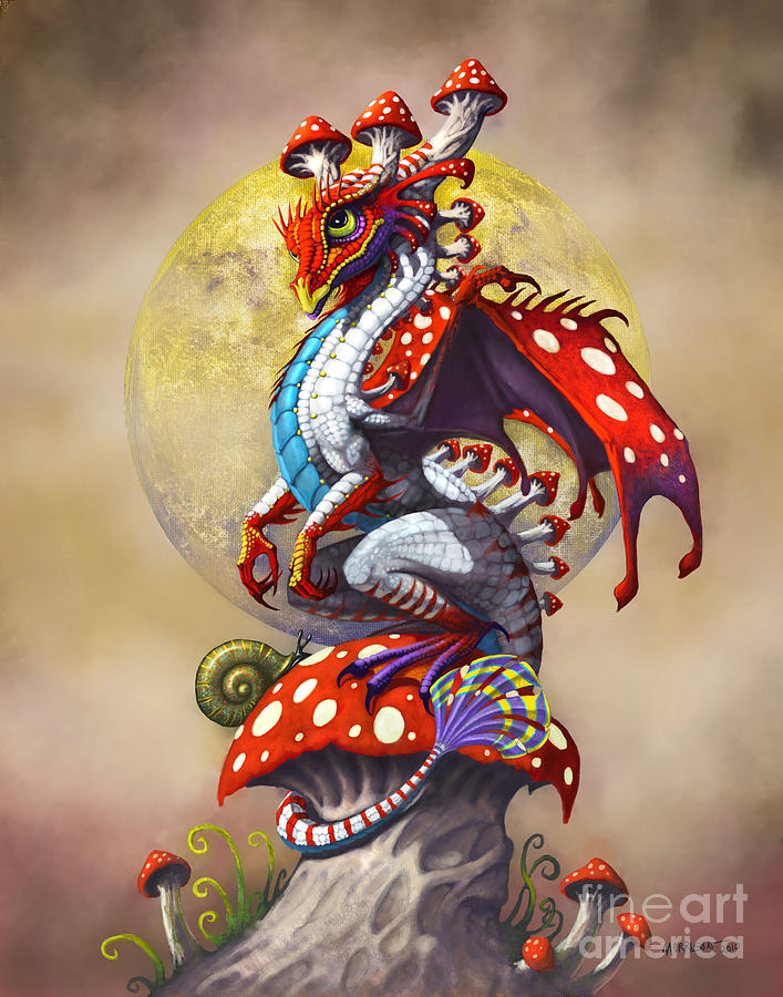 Mushroom dragon digital art by stanley morrison Fine art america