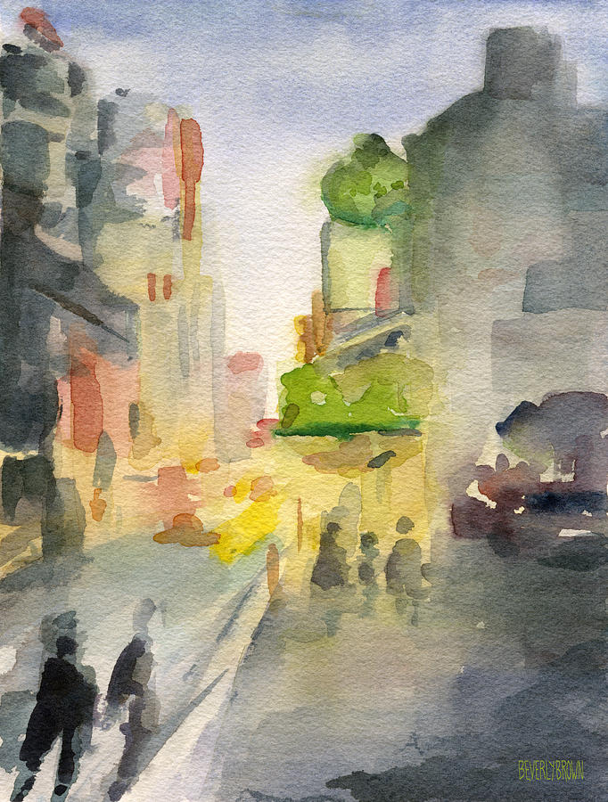 Streetscape Painting - Music Box Theater Times Square Watercolor Painting Of New York by Beverly Brown Prints