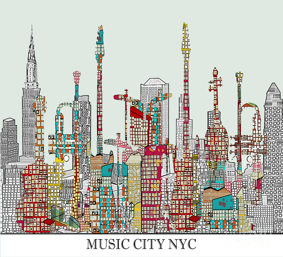 Music City Nyc  Digital Art  - Music City Nyc  Fine Art Print