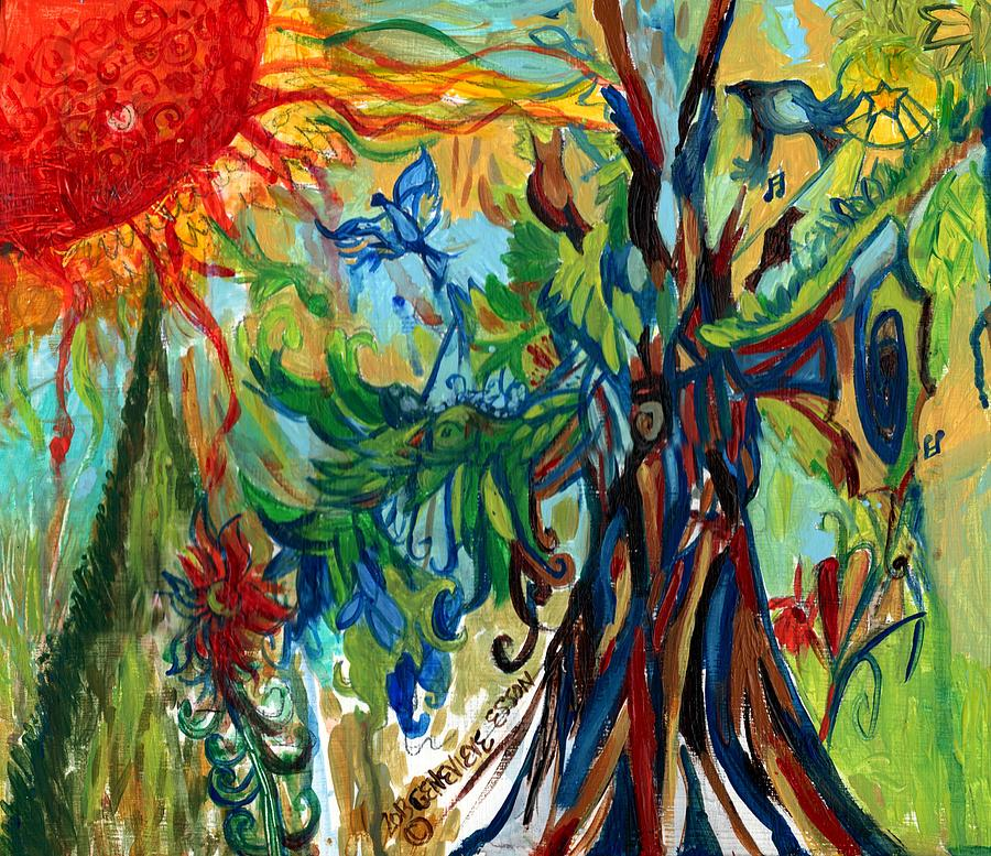 Music In Bird Of Tree Painting  - Music In Bird Of Tree Fine Art Print