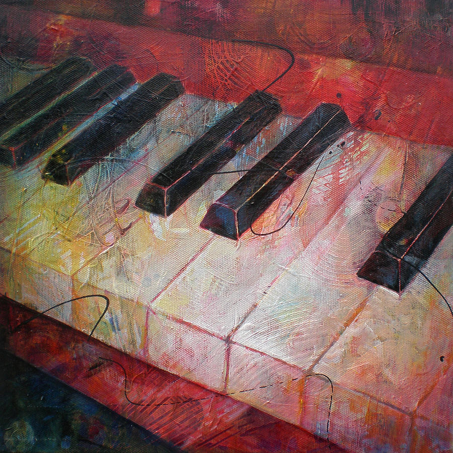 Music Is The Key - Painting Of A Keyboard Painting  - Music Is The Key - Painting Of A Keyboard Fine Art Print