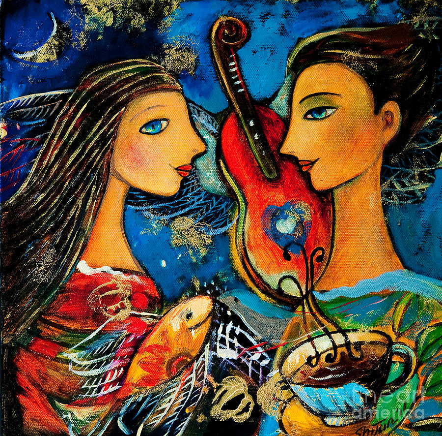 Music Lovers Painting  - Music Lovers Fine Art Print