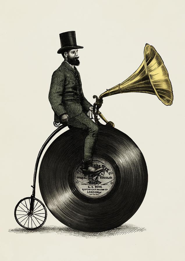 Music Drawing - Music Man by Eric Fan