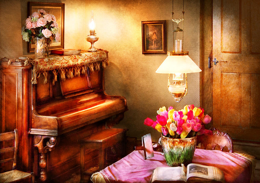 Hdr Photograph - Music - Piano - The Music Room by Mike Savad