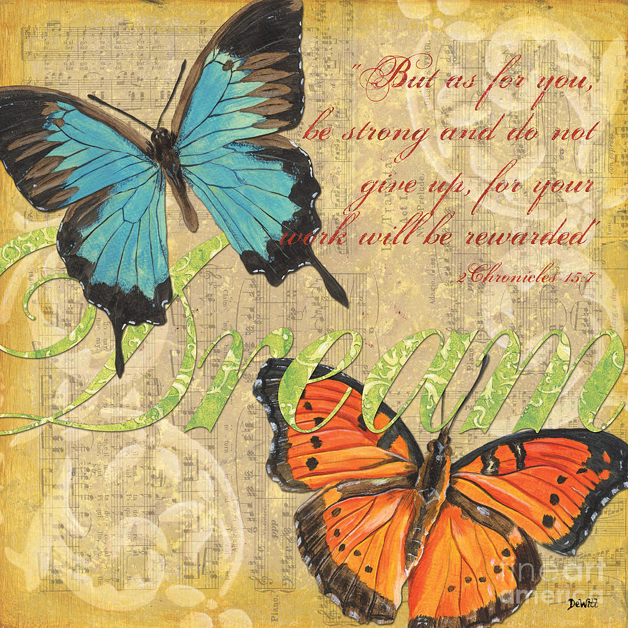 Musical Butterflies 1 Painting  - Musical Butterflies 1 Fine Art Print