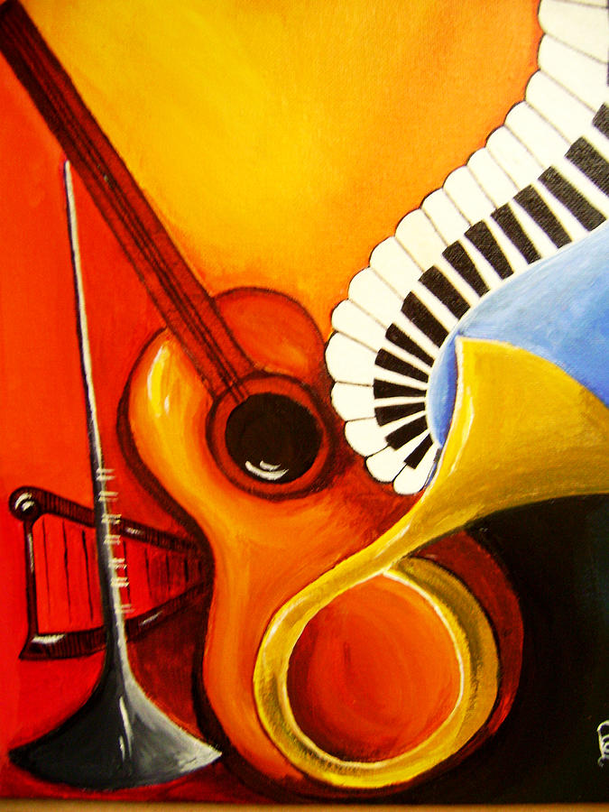 Music Painting - Musical Instruments by Rajni A