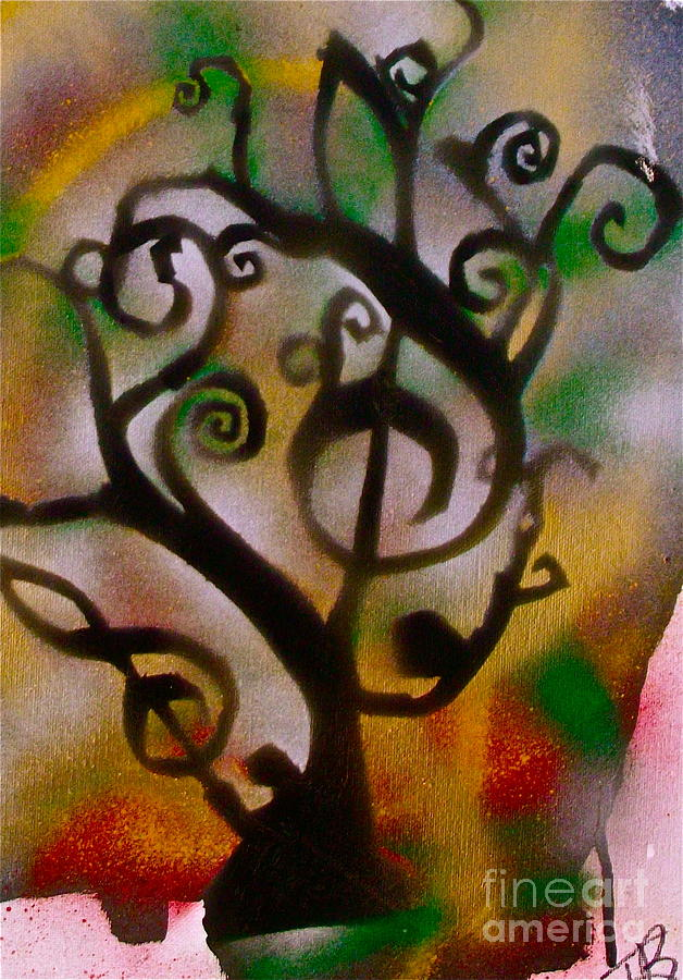 Musical Tree Golden Painting  - Musical Tree Golden Fine Art Print