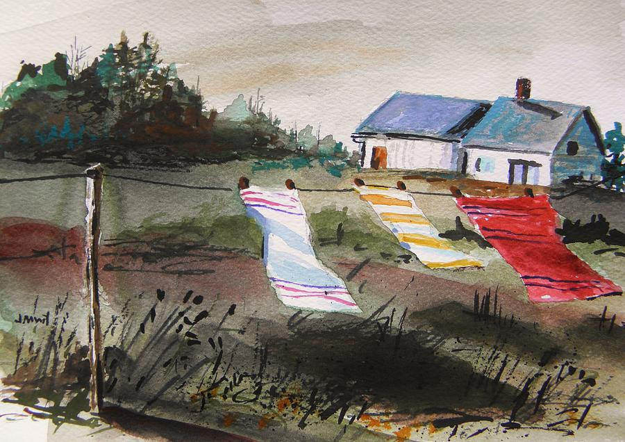 Landscape Painting - Musing-kitchen Towels by John Williams