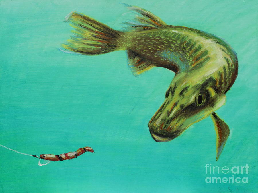 Muskie And The Lure Painting  - Muskie And The Lure Fine Art Print