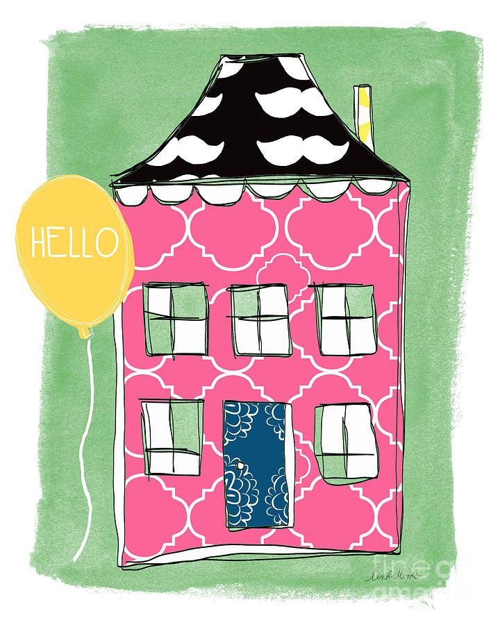 Mustache House Mixed Media