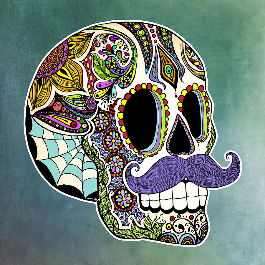Mustache Sugar Skull Drawing